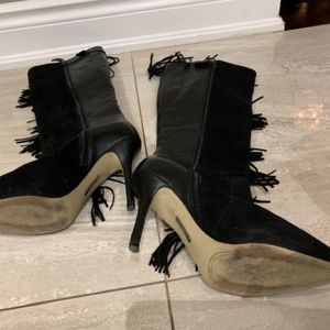Boutique 9 Shoes - Black leather tassel high heel boot